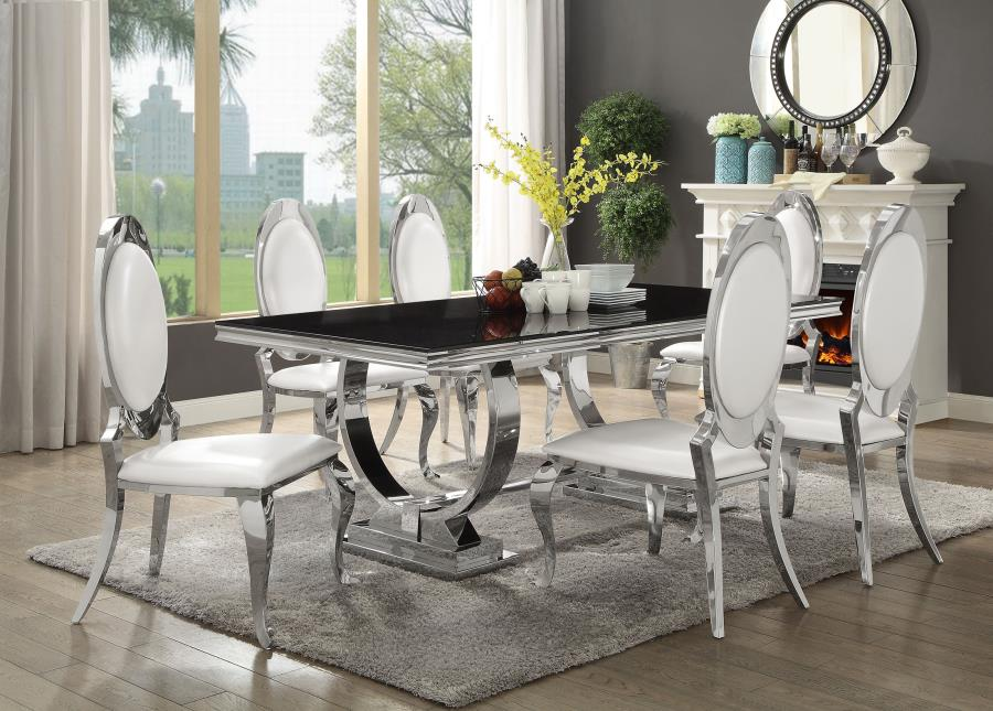 Antoine 7 Piece Dining Set With Stainless Steel Table
