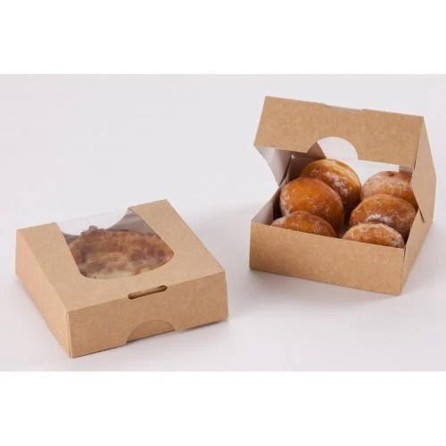 Boîtes pâtissières avec fenêtre remplies de beignets en 12x12x4 cm