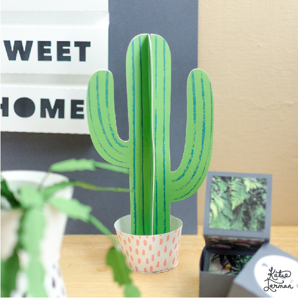photograph relating to Cactus Printable named 3D Cactus printable - Furrow and Feather