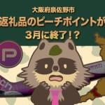 【大人気】泉佐野市のピーチポイントが3月で終了の可能性が⇒継続中