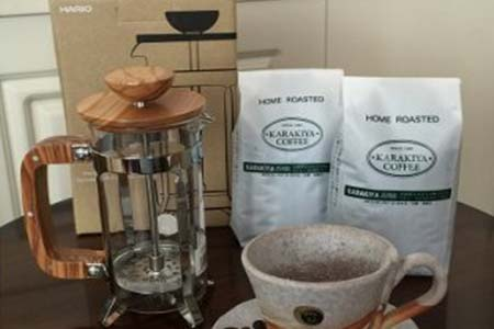 HARIO ハリオ カフェプレス・ウッド&直火自家焙煎コーヒー粉100g×2種 イメージ