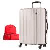 スーツケースPC7258(軽量)Mサイズ フェザーホワイト+折りたたみリュック(レッド)