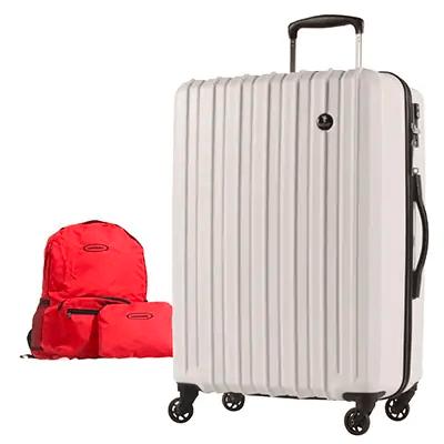 スーツケースPC7258(軽量)Mサイズ フェザーホワイト+折りたたみリュック(レッド) イメージ