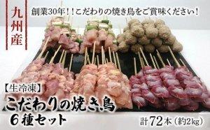 【生冷凍】 九州産 こだわりのやきとり 6種セット(計72本,約2㎏)