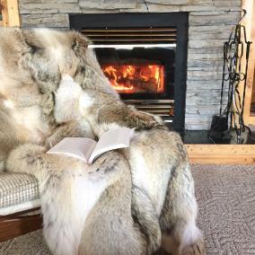 Luxurious Wild Coyote Fur Throw