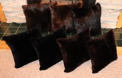 Sheared and Natural Wild Beaver Fur Pillows