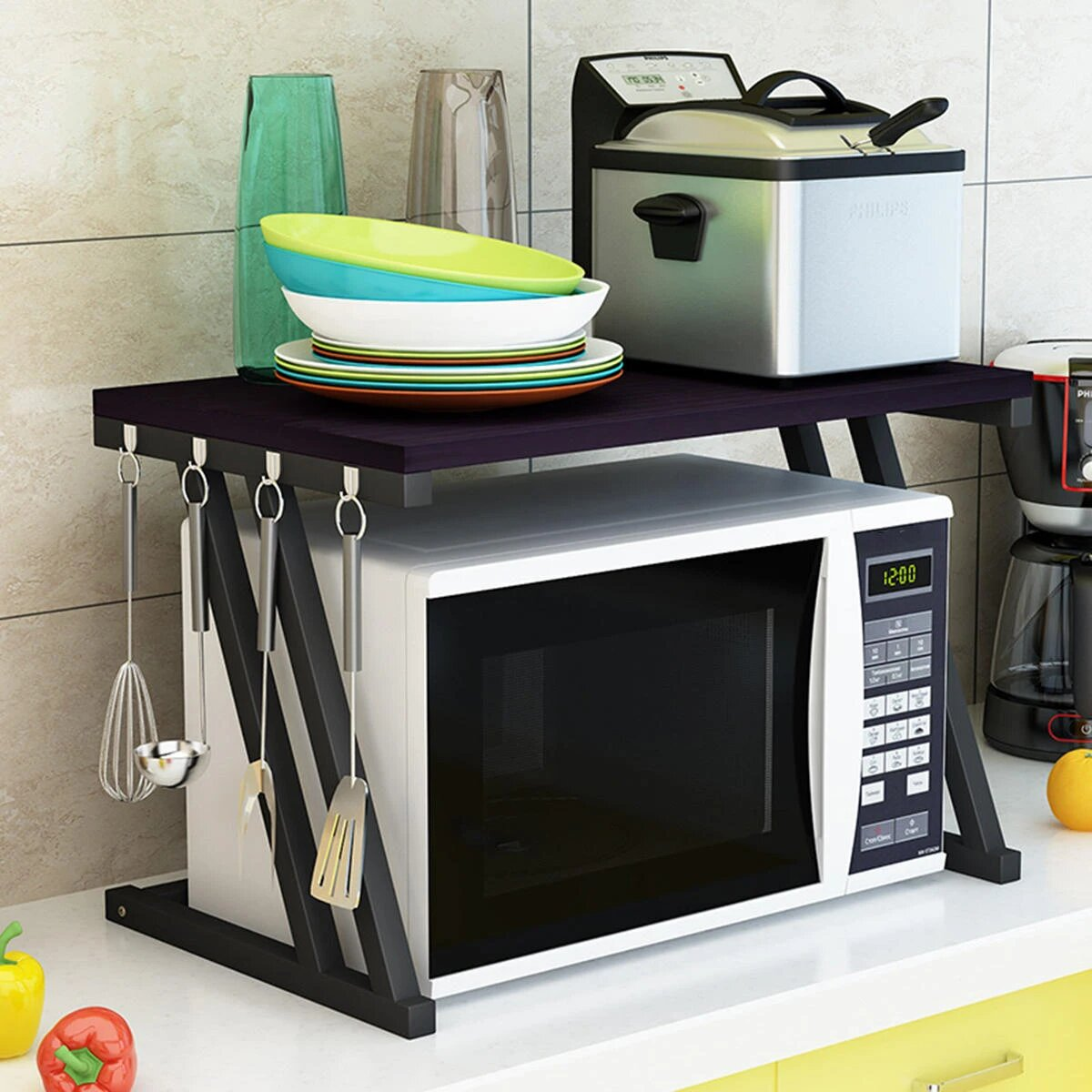 2 tier kitchen baker rack microwave oven stand storage cart workstation shelf desktop table top organizer