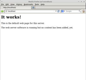 """Ein Screenshot des funktionierenden Ubuntu-Servers in Firefox. Es wird Schrift gezeigt mit den Worten """"it works!""""."""