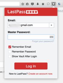 LastPass Login Screen - Screen Capture