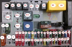 Fuse and relay box diagram OpelVauxhall Astra G