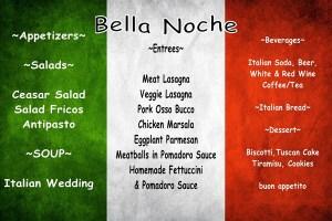 The 2016 Bella Noche Dinner Menu