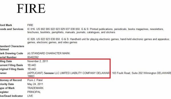 Seesaw 'Fire' trademark filing
