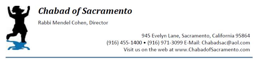 Chabad Sacramento letterhead