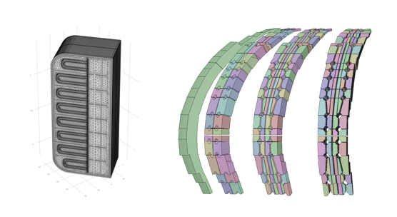 Side-by-side images showing the meshed TBM geometry and FI models with different levels of detail.
