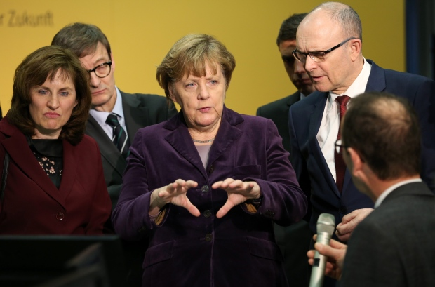 German chancellor Angela Merkel at the Wendelstein 7-X nuclear