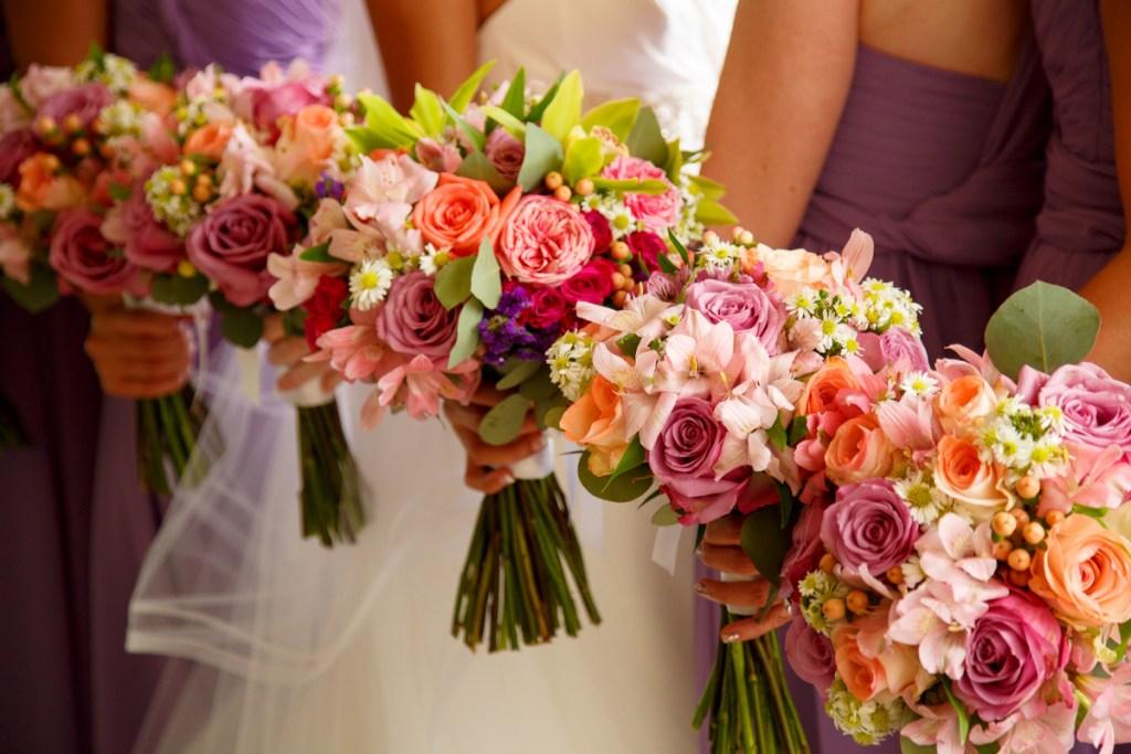 Multi color bridesmaid bouquets