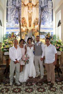 wedding party inside church