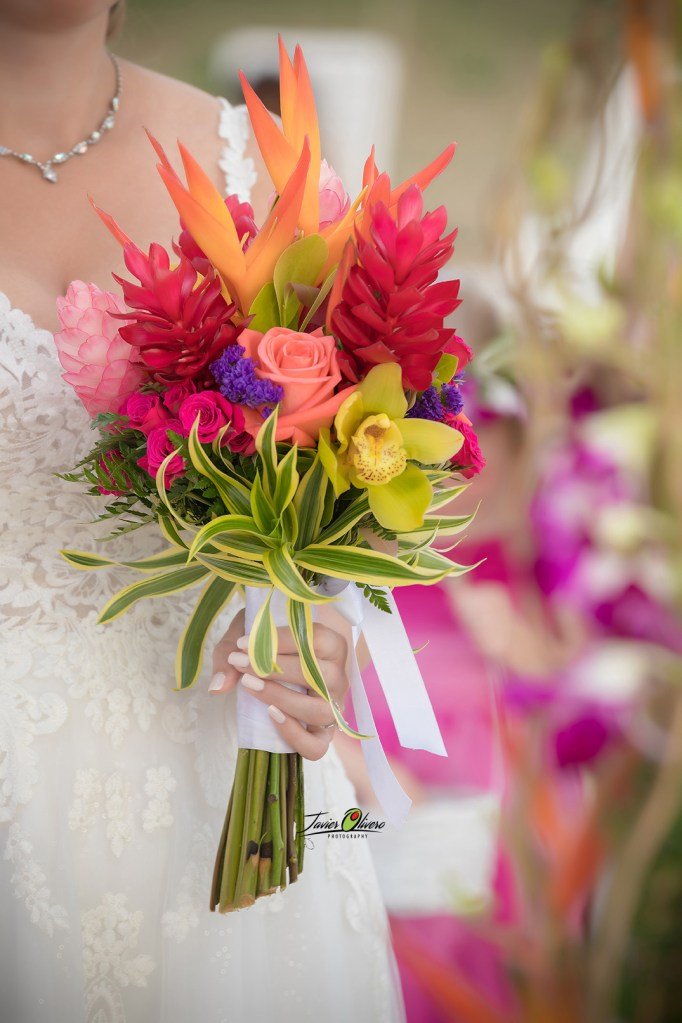 Tropical heliconias & gingers bouquet w/roses & orchids