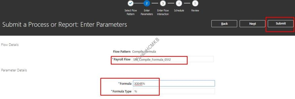 Provide input parameters for compile formulas process and submit for fusion hcm fast formulas compilation process