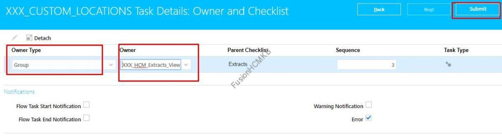 Select the Owner as Role and Click Submit to update the owner for hcm extract in fusion hcm