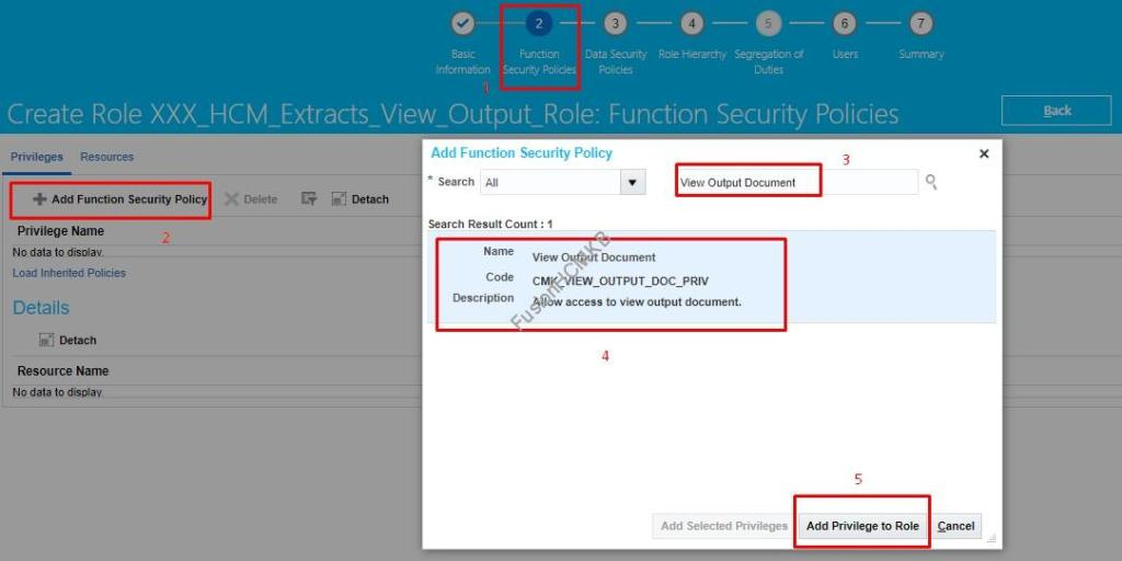 Add Function Security Policy for View Output Document in fusion hcm to modify the permissions for hcm extracts