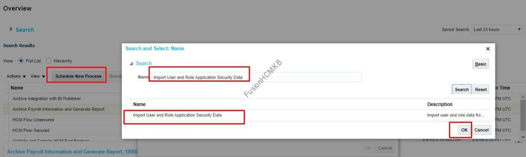 Search for process and Click OK to run the import user and role application security data in fusion hcm
