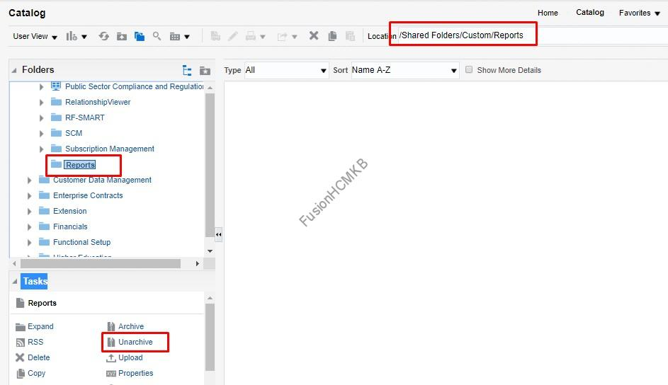 Navigate to folder, open the folder and click Unarchive for unarchiving bi data model and report in fusion hcm