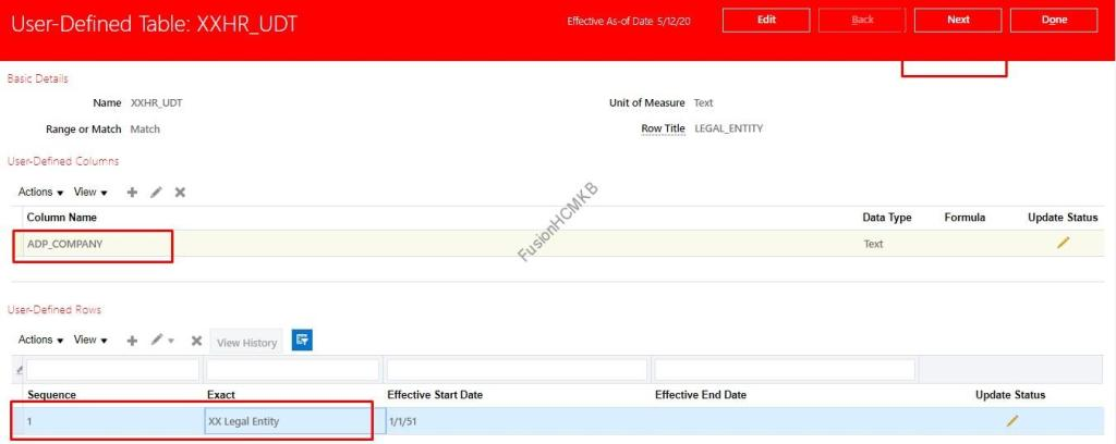 Adding column instance to User defined table in fusion hcm oracle hcm cloud