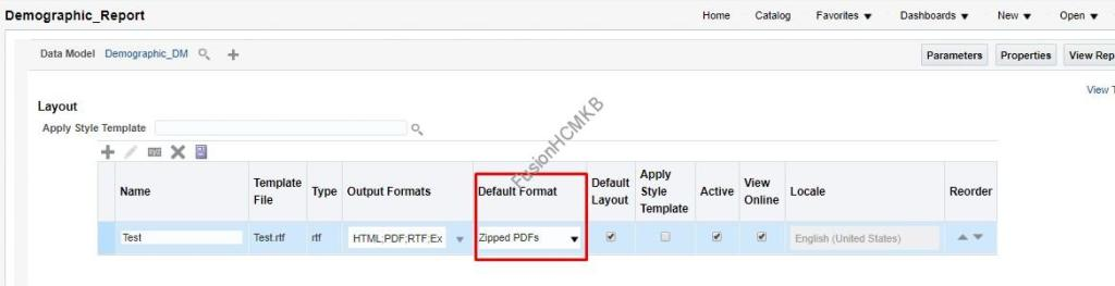 Default format is set to Zipped PDFs for BI Publisher report in fusion hcm
