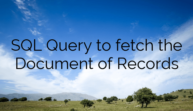 SQL Query to fetch the Document of Records