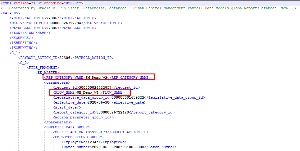 XML showing SM_Demo_V2 being picked up