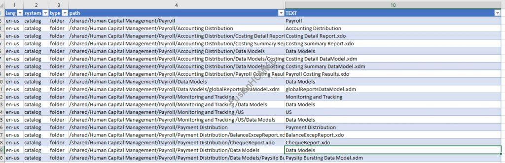 Output in Excel File