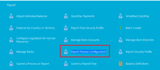 Manage Payroll Process Configuration task