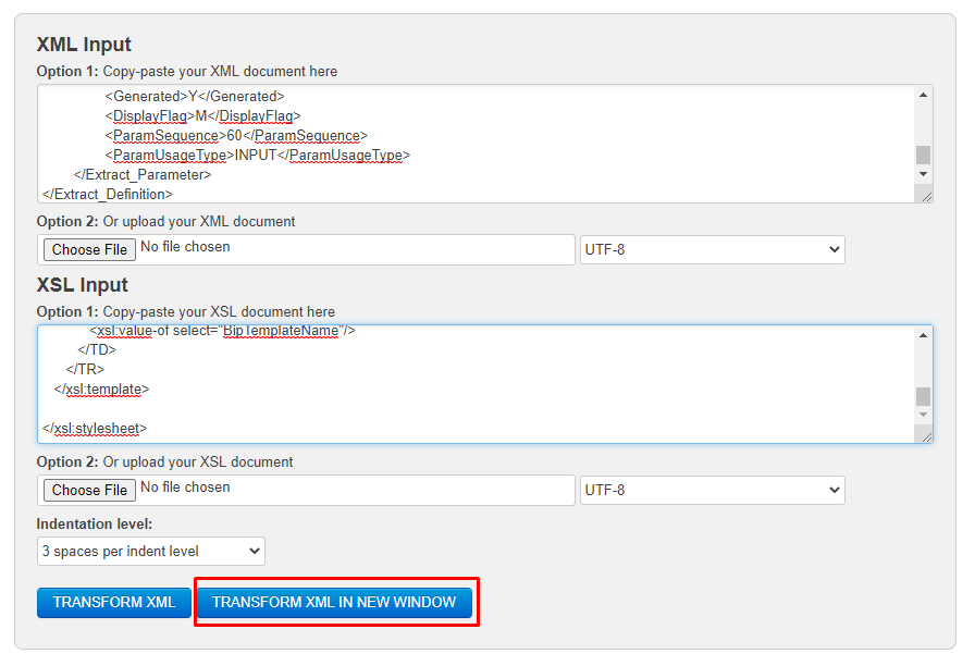 Click on Transform XML in New Window
