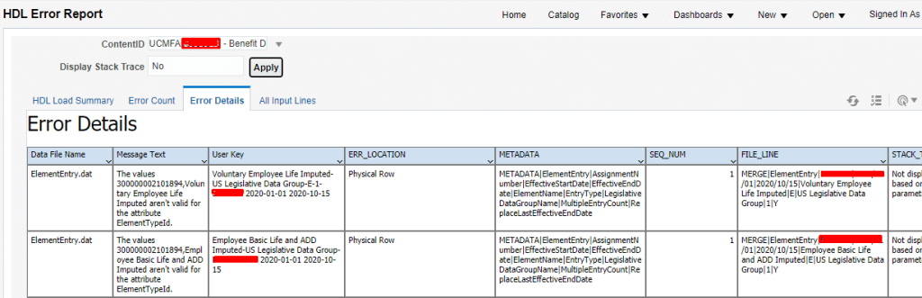 hdl error report. hcm data loader error report