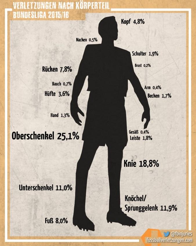 Grafik: Verletzungen 2015/16 nach Körperteil. Oberschenkelverletzungen liegen vor Knieverletzungen.