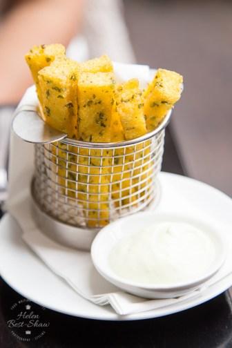 Chunky herb polenta chips with garlic aioli at The Gate, Hammersmith, London