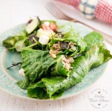 Riverford stuffed spring rolls with greek salad