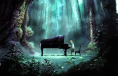 Illustrated is Piano in the forest