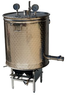 Marmite INOX + bruleur gaz industriel + options thermometres, soupape et tube de sortie avec vanne vidage