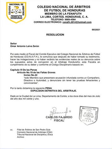 El comunicado de la CONAFH resolviendo la expulsión de Leiva (Foto: Diario Más)