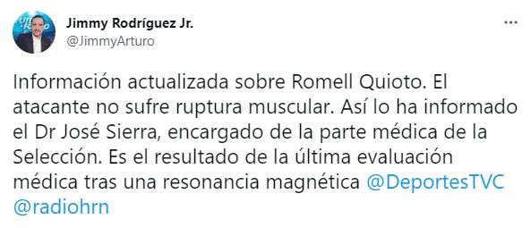 El tuit del periodista Jimmy Rodríguez con información sobre el estado de Quiotto.