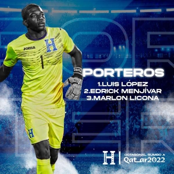 Los porteros convocados por Fabián Coito para la selección de Honduras (Foto: Fenafuth)