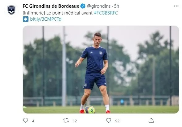Girondins tuitea con el parte médico ya sin Alberth Elis
