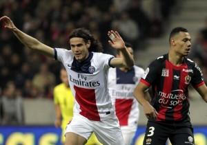 Cavani festeja el gol de la victoria frente al Niza del pasado viernes
