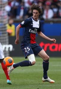 Adrien Rabiot en el partido del PSG contra el Reims