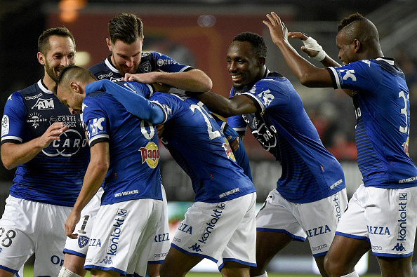 Bastia's Guinean forward Francois Kamano (C) celebrates with team mates after scoring during the French L1 football match between Stade Rennais FC and SC Bastia at the Roazhon Park stadium in Rennes, northwestern France, on May 14, 2016. AFP PHOTO / DAMIEN MEYER / AFP / DAMIEN MEYER (Photo credit should read DAMIEN MEYER/AFP/Getty Images)