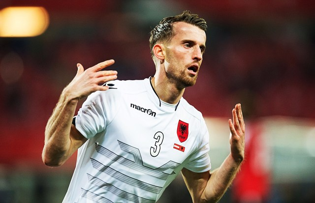 Ermir Lenjani of Albania celebrates his 1-2 goal during the friendly football match between Austria and Albania in the Ernst-Happel stadium in Vienna, on March 26, 2016. / AFP / JOE KLAMAR        (Photo credit should read JOE KLAMAR/AFP/Getty Images)
