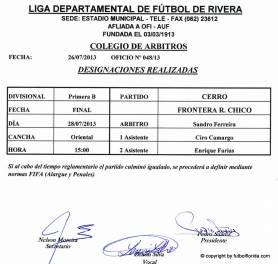 Designaciones Final Divisional B