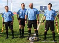 Nestor Izquierdo junto a Charles Carreras y José M Fernandez. Fernando Martinez cuarto árbitro el 27/08/2017